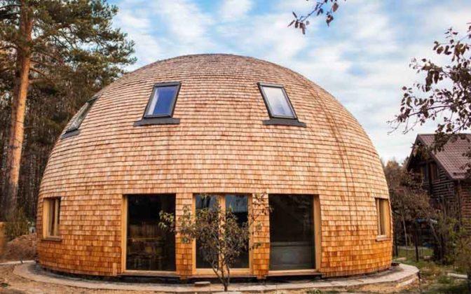 круглый дом из дерева