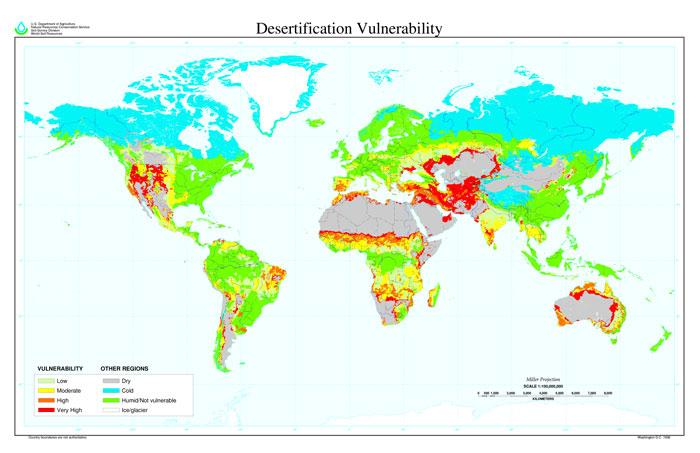 Карта опустынивания земли